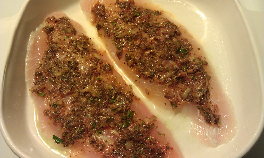 Spice mix rubbed onto fish fillets