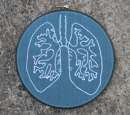 Anatomy Lung Embroidery Hoop Art