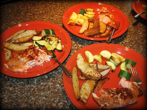 Grilled Salmon, Zucchini and Steak Fries