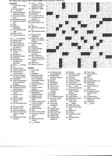 NYT Sunday Puzzle - August 14, 2011