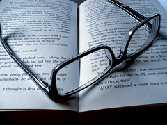 black & white Glasses & Book - exhausting read