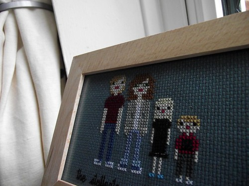Wee Little Stitches Family Portrait of us, stitched by me
