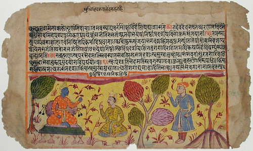 Krishna receiving King Yudhishtra in the fores...