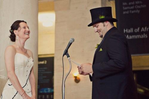 Lynn making Dorian laugh during his vows