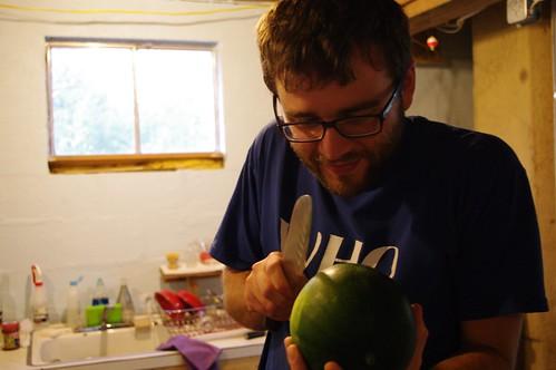 Greedily eyeing a melon