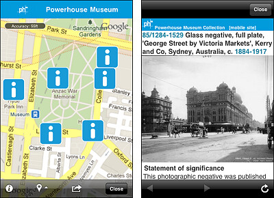 Screenshots of Augmented Reality browsing of Powerhouse Museum around Sydney