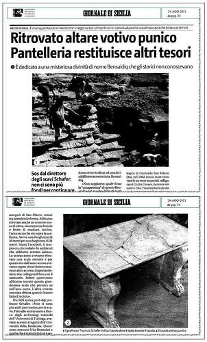 ARCHEOLOGIA: PANTELLERIA, RITROVATO TAVOLO VOTIVO PUNICO. SiciliaOnLine (23/08/2011) & GIORNALE DI SICILIA (24/08/2011), p. 34 [PDF pp 1-2].  by Martin G. Conde