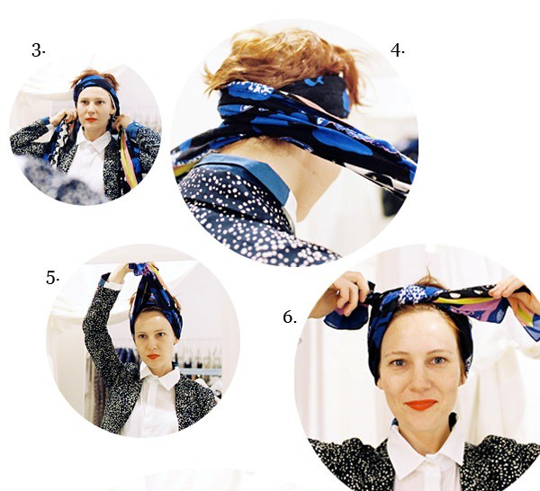 2. tie over head. go around. bring scarf back up. tie knot. double knot it. - Copy
