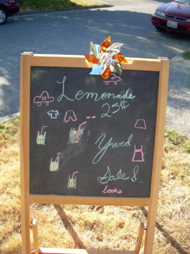 Lemonade/yard sale chalkboard