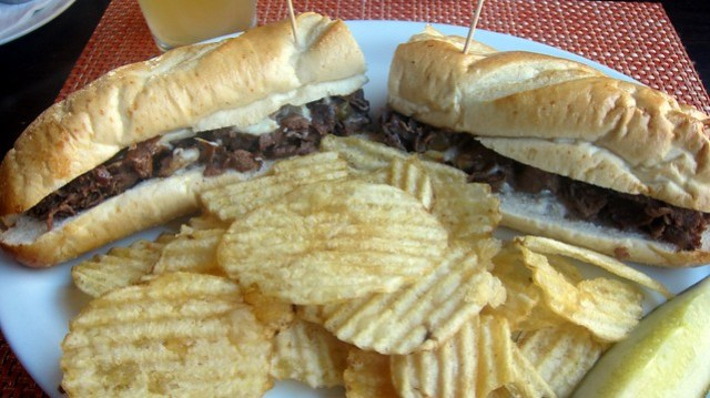 cheesesteak plate at slack's restaurant