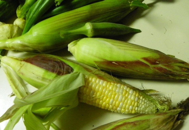 Corn, Okra, Tomatillos