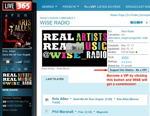 How to use WISE RADIO on Live365
