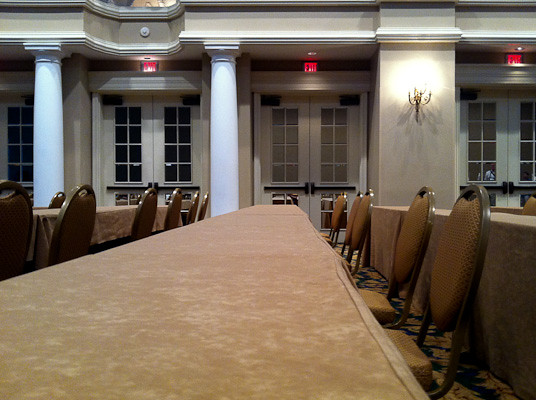 Not a song from Les Miserables, a conference room awaiting attendees.