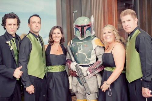 Bounty hunter with some of the wedding party