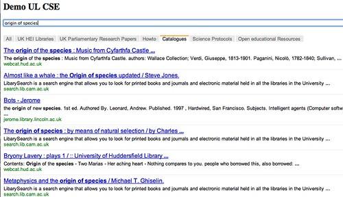 Searching UK HE library catalogues via a Google CSE