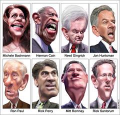 Caricatures: GOP Presidential Debate Participa...