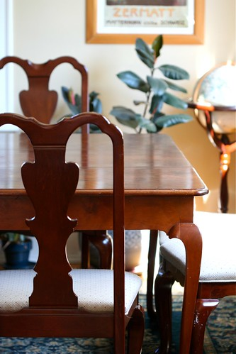 An empty dining room table