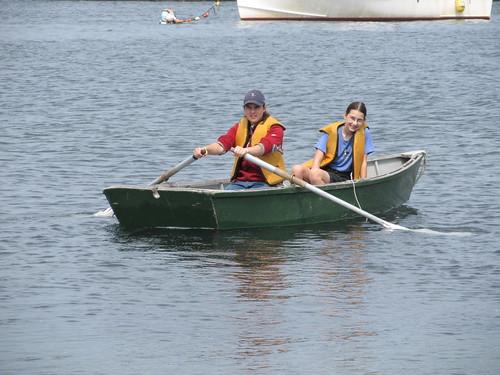 rowing the skiff