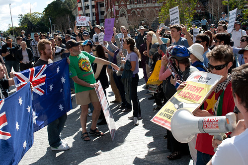 Anti-Muslim Protest and Anti-Racism Demonstrators