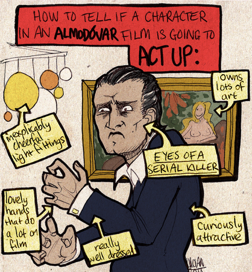 "A labelled diagram entitled ""How to tell if a character in an Almodovar film is going to act up"".  It shows Antonio Banderas as the protagonist from The Skin I Live In, with deep-set, mad eyes and beautiful hands, wearing a suit.  In the background, there is a groovy light fitting and a luxurious painting.  The diagram is labelled with ways in which to tell if he is about to kick off.  The labels are, ""Inexplicably cheerful light fittings"", ""owns lots of paintings"", ""curiously attractive"", ""very well-dressed"", ""lovely hands that do a lot on film"", and (in caps), ""EYES OF A SERIAL KILLER.""  The whole image is a hand-drawn cartoon-style picture on textured card with fun, bright colours."
