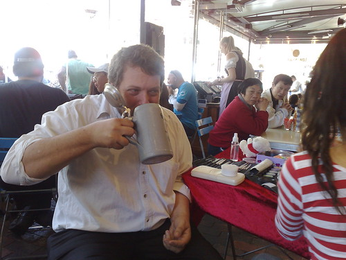 Adam drinking from his personal stein at Lowenbrau