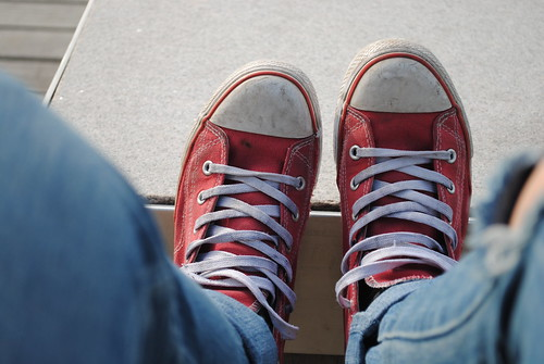 blue red sun shoes
