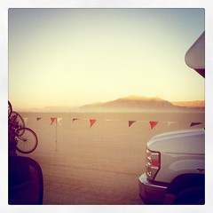 Waiting to enter burning man during sunset