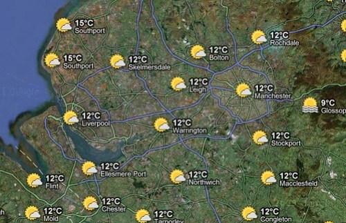 Weather in Warrington on Google Maps