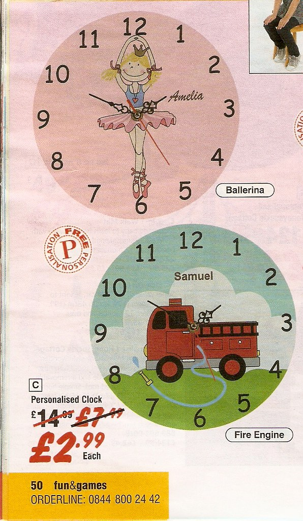 Catalogue pictures of children's clocks: one pink with a cartoon ballerina, one with a red fire engine.
