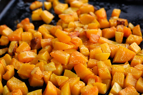 Roasted butternut squash for the Butternut Squash Enchiladas with Tomatillo Sauce