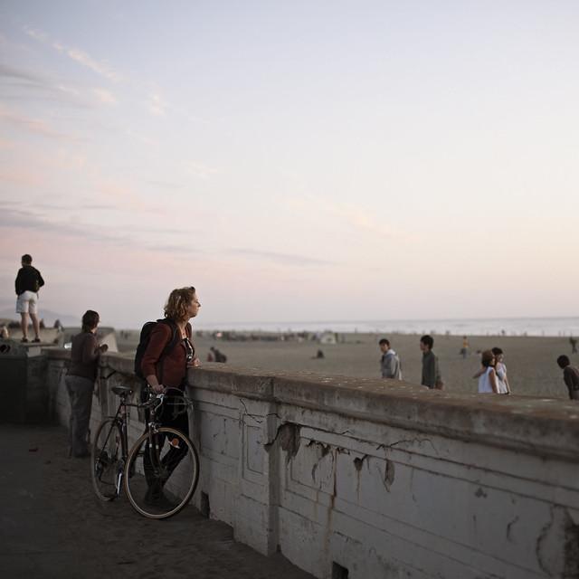 Pausing at Ocean Beach