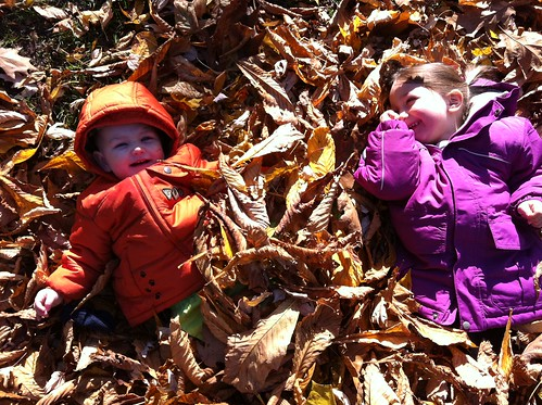 girls in the leaves