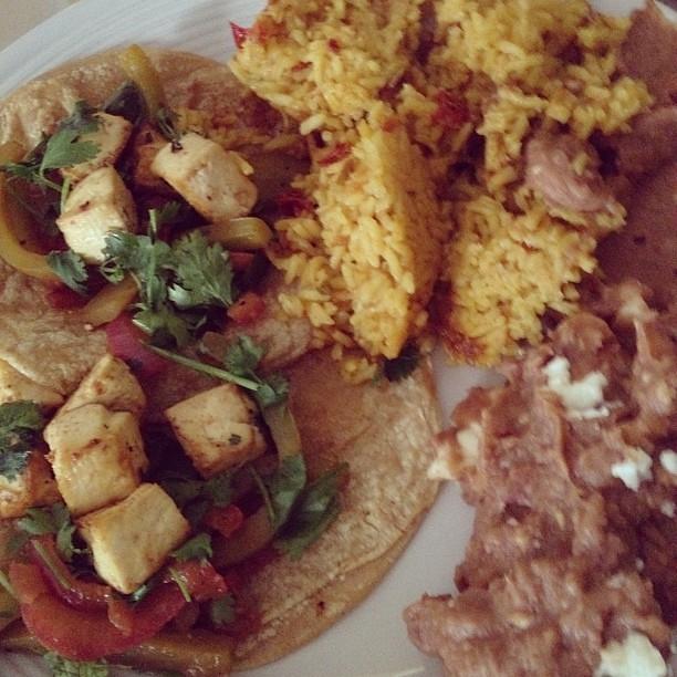 Tofu fajitas, beans, and rice. This was awesome.
