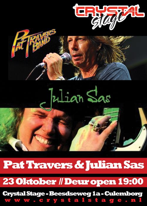Blueslegende Pat Travers en special guest Julian Sas live in Crystal Stage te Culemborg op 23 oktober 2011