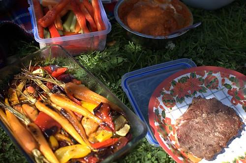 Crudites, Paleo BBQ sauce, steak, roasted vegetables