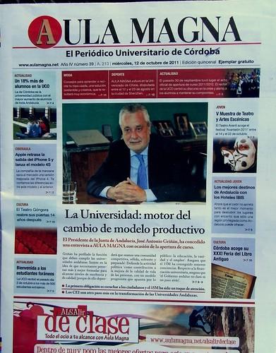Griñán, portada del periódico universitario Aula Magna.