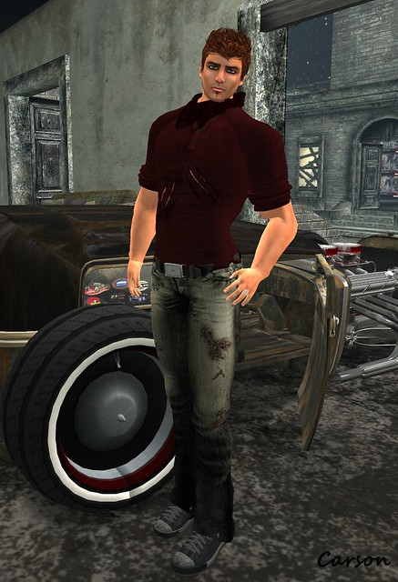 J.Shawn Creations - Punk It! Shirt and Jeans, Double Scarf and Leather Belt, Bad@zz - Once Hair