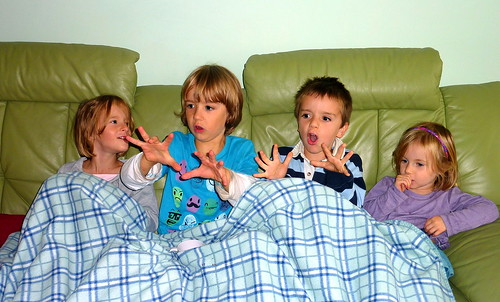 Millie Carter, Amber Carter, Dylan McGlone and Fergus McGlone on the sofa
