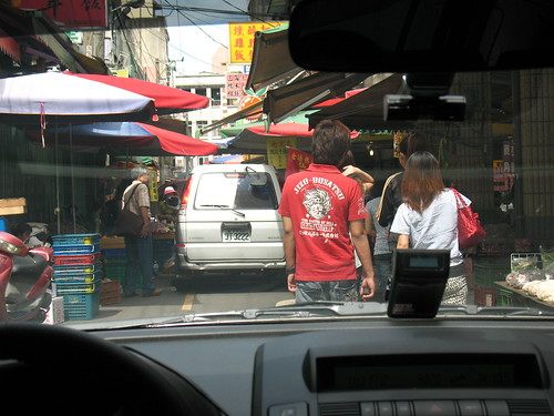 Driving through Daxi market