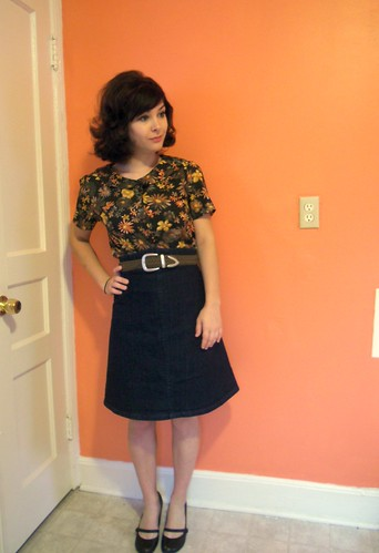 violet blouse & ginger skirt