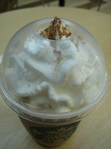 whip cream on top of starbucks frappucino