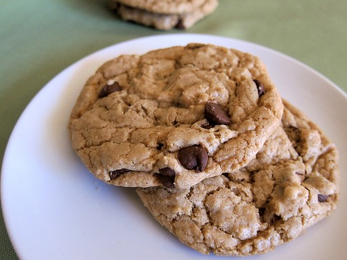 Another shot of the two cookies on a plate.