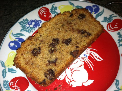 chocolate chip streusal bread slice