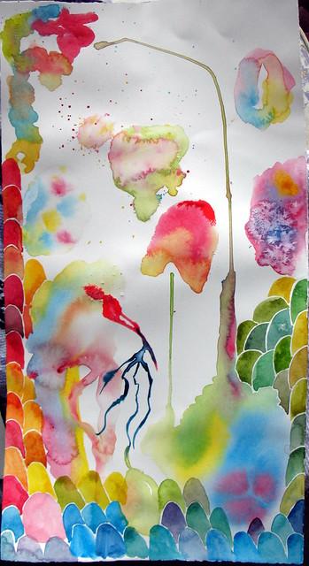 Watercolor experiments on hot-press paper