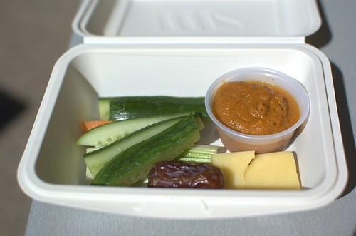 Organic carrot, zucchini & celery sticks, organic spiced carrot dip, organic cheddar cheese, organic Medjool date