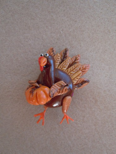 Polymer Clay Turkey pin