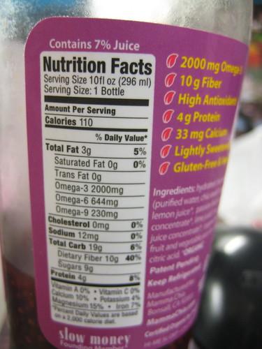 Mamma Chia nutriton facts