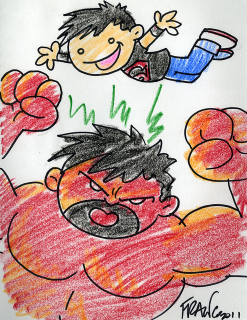 Superboy and Red Hulk by Franco