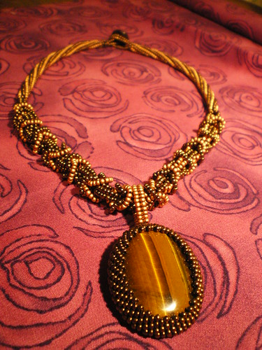 Beaded Byzantine Chain Maille and Tiger's Eye Cabochon Necklace