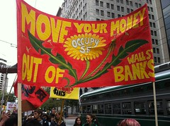 #MoveYourMoney #occupysf marching on Market St...